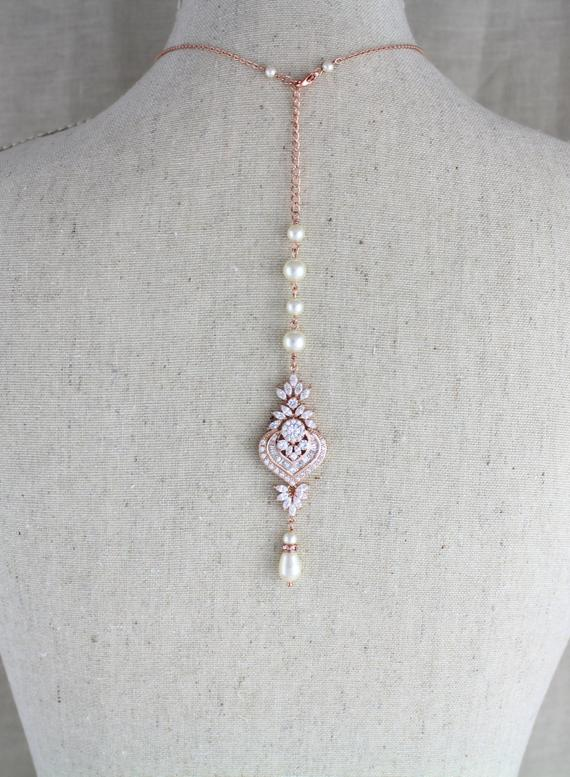 Rose gold Bridal Backdrop necklace, EMMA - Treasures by Agnes
