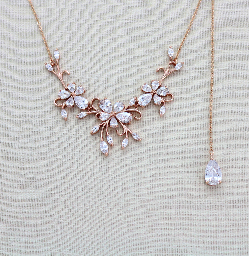 Dainty Rose gold CZ Bridal back drop necklace - TAYLOR - Treasures by Agnes