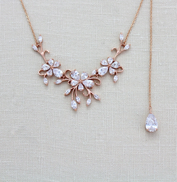 b471112bb7c1 Dainty Rose gold CZ Bridal back drop necklace - Treasures by Agnes