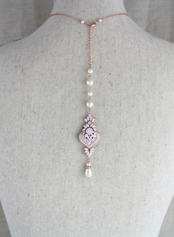 Rose gold bridal backdrop necklace with crystals and pearls