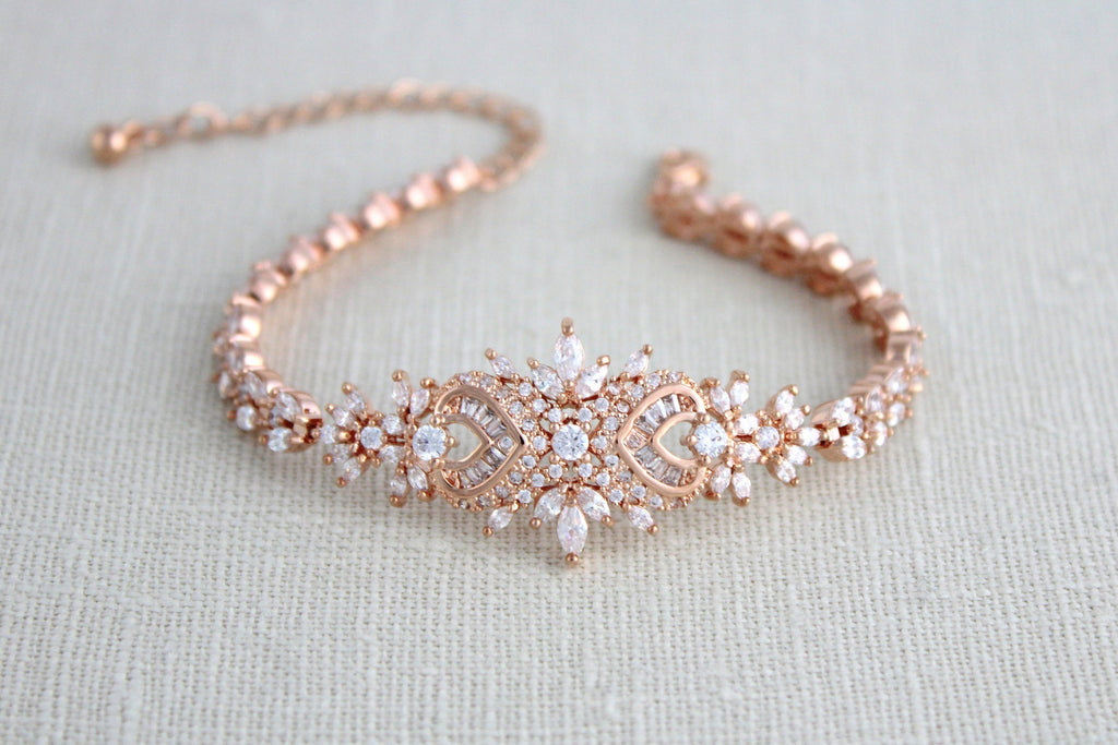 Rose gold Art Deco cubic zirconia Bridal bracelet, EMMA - Treasures by Agnes