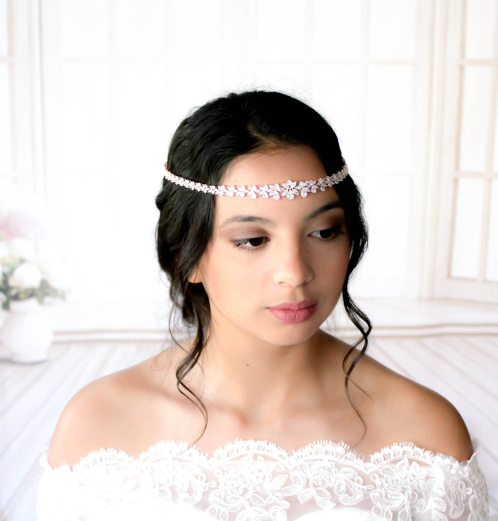 Rose gold Bridal forehead hair accessory - JAZMINE - Treasures by Agnes