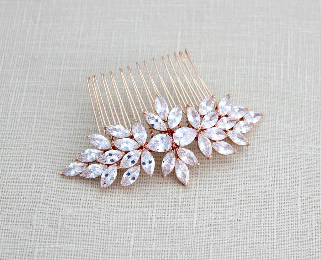 Rose gold cubic zirconia Bridal hair comb - Treasures by Agnes