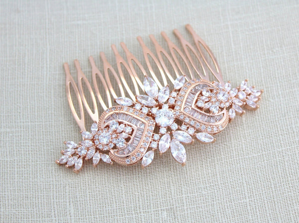 Rose gold Art Deco Bridal hair comb accessory, EMMA - Treasures by Agnes