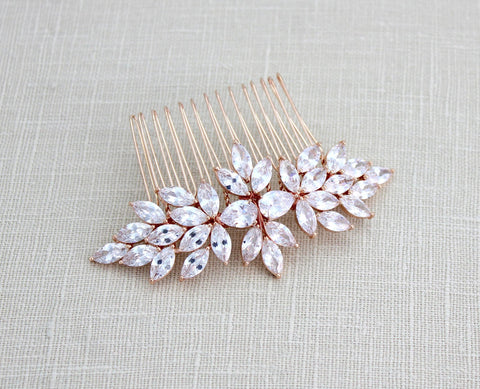 Rose gold Bridal crystal hair comb - Treasures by Agnes