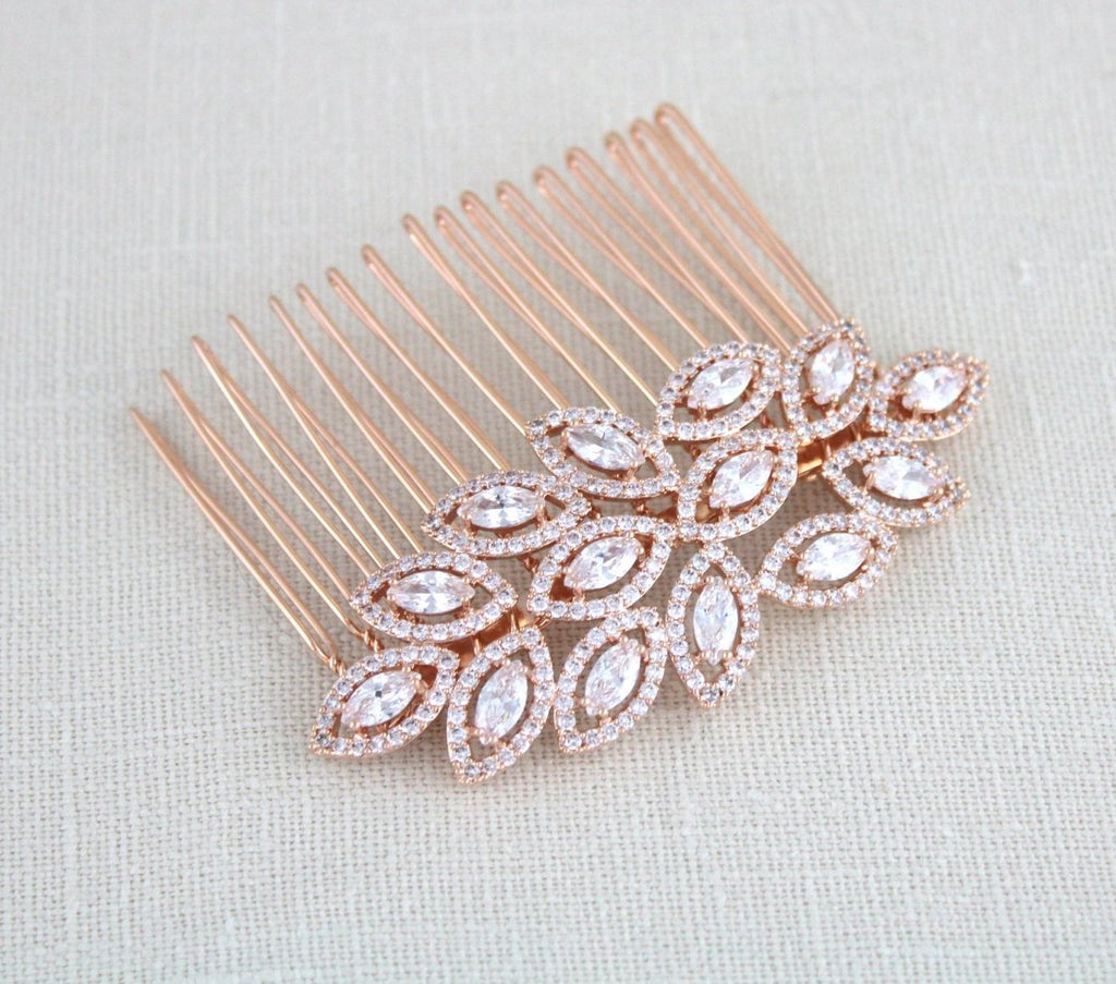 Rose gold bridal hair comb with Clustered cubic zirconia Leaf design - SCARLETT - Treasures by Agnes