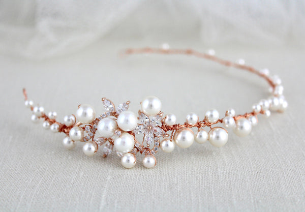 Rose gold bridal hair vine with crystals and pearls - MIA - Treasures by Agnes