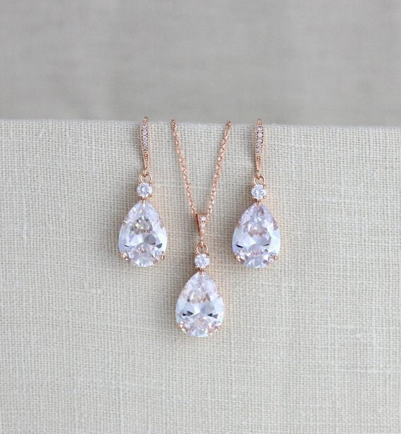 Bridal jewelry set with Cubic zirconia stones, Bridesmaid necklace and earrings - PEYTON - Treasures by Agnes