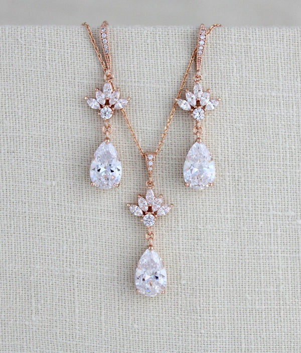 Simple rose gold cubic zirconia Bridal jewelry set - EMMA - Treasures by Agnes