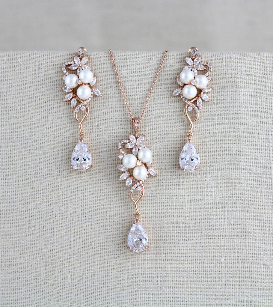 Rose gold Bridal necklace and earring set MIA - Treasures by Agnes