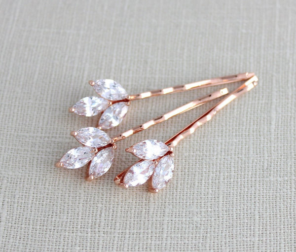 Rose Gold Cubic Zirconia Bridal hair pins - LAUREN - Treasures by Agnes