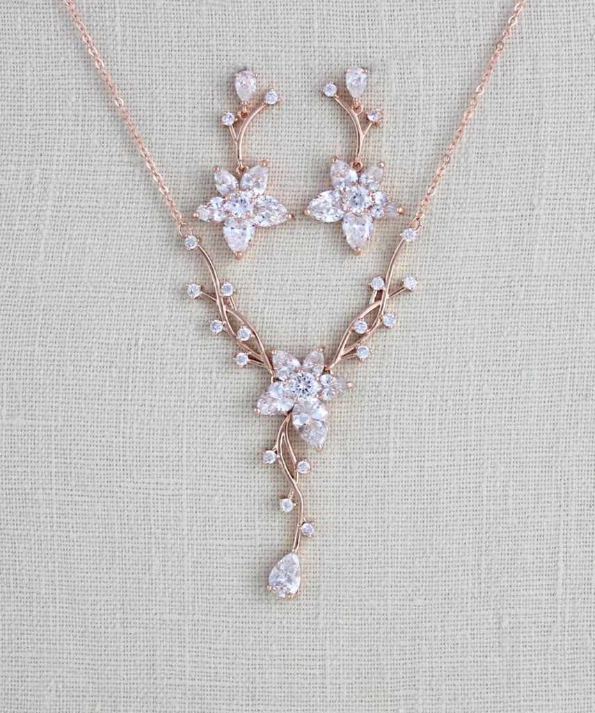 Rose gold Cubic Zirconia Bridal necklace and earring set LILY - Treasures by Agnes