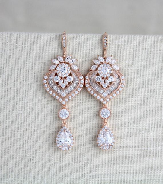 Long Rose gold chandelier Wedding earrings - EMMA - Treasures by Agnes
