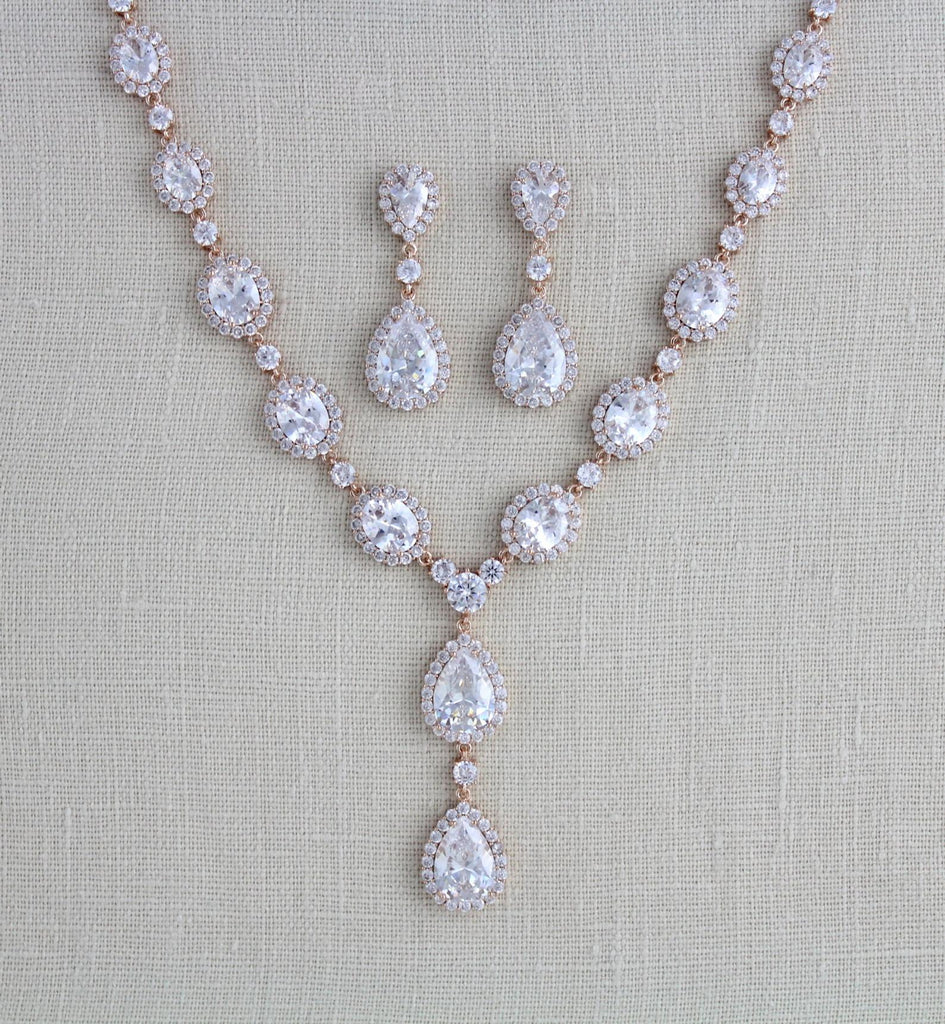 Rose gold Cubic Zirconia Bridal necklace and earring set - Treasures by Agnes