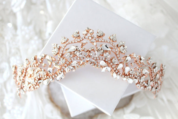 Rose gold Bridal tiara with Swarovski crystals - MONROE - Treasures by Agnes
