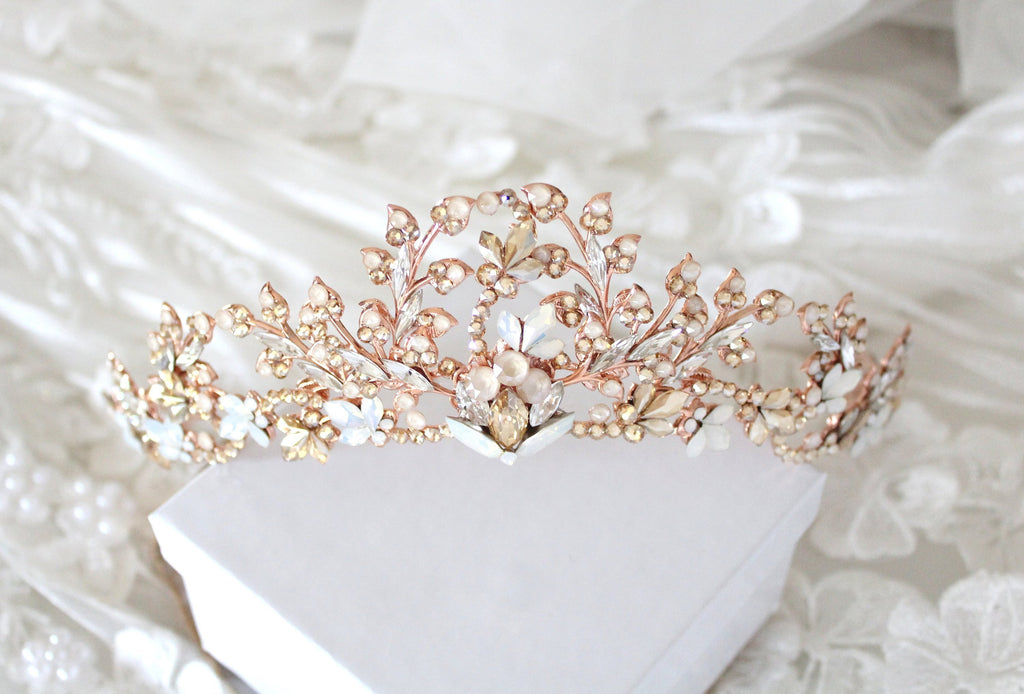 Rose gold Bridal leaf tiara crown with Swarovski crystals - Treasures by Agnes