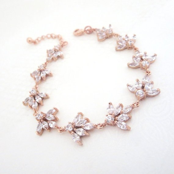 Cubic zirconia clustered leaf Bridal bracelet - EMMA - Treasures by Agnes