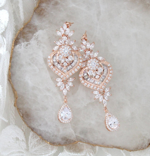 Rose gold Bridal chandelier earrings EMMA - Treasures by Agnes