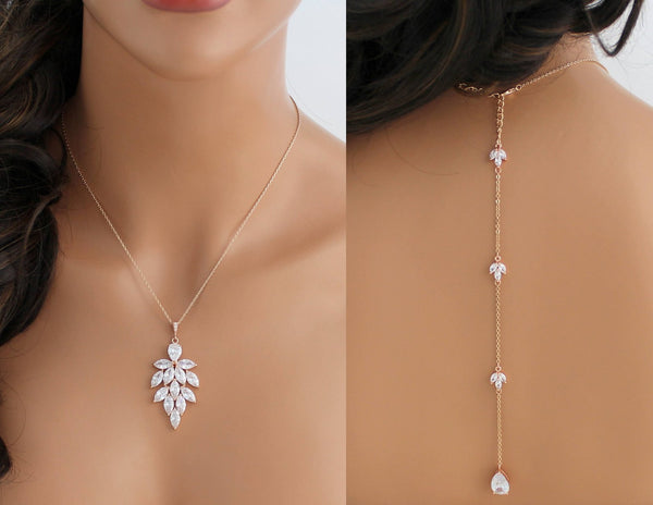 Rose gold cubic zirconia backdrop necklace - Treasures by Agnes