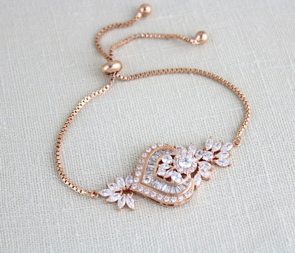 Rose gold CZ Bridal bracelet, Adjustable slide bracelet EMMA - Treasures by Agnes