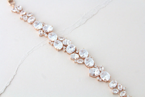 Rose gold oval cut Cubic Zirconia Bridal bracelet - ALEXA - Treasures by Agnes