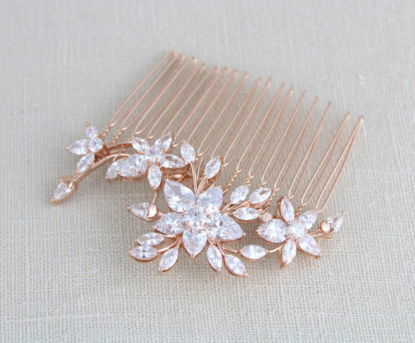 Rose gold cubic zirconia Bridal hair comb LILY - Treasures by Agnes