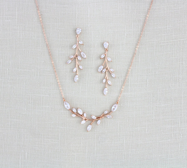 Rose gold Cubic Zirconia Bridal necklace and earring set - treasures570