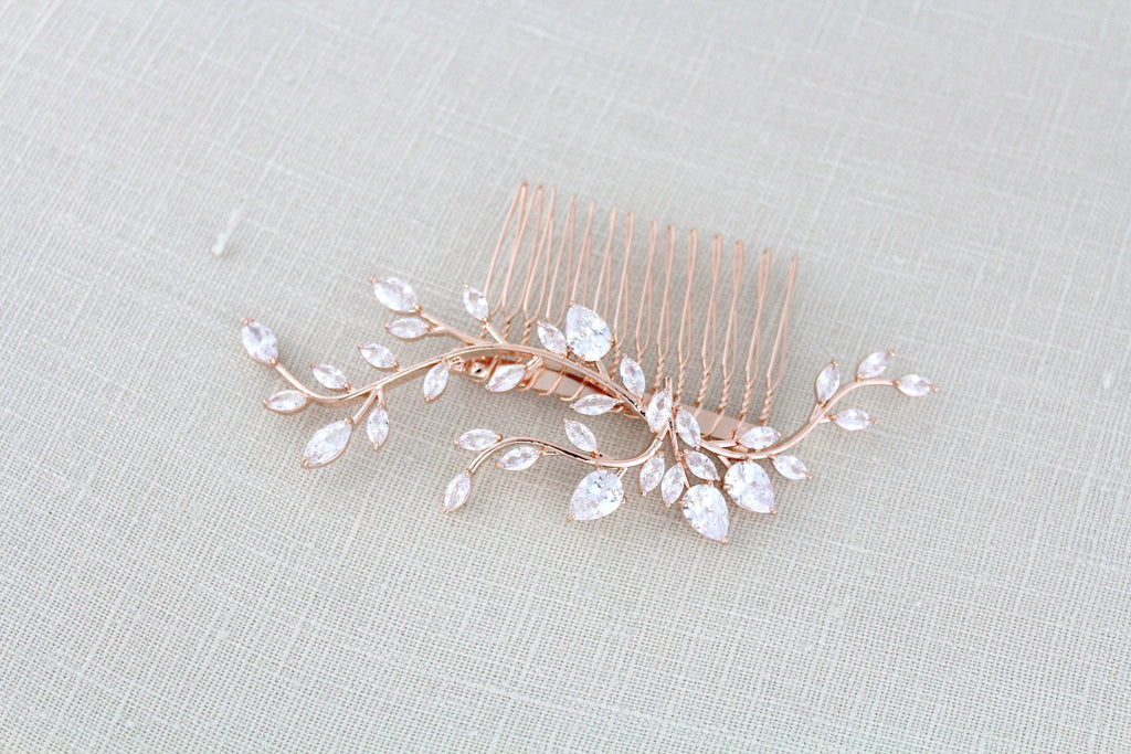 Rose gold Cubic Zirconia leaf vine Bridal hair comb - Treasures by Agnes