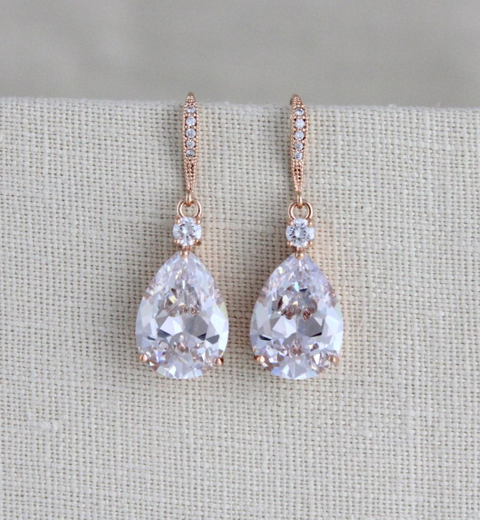 Rose gold Cubic Zirconia teardrop bridal earrings - PEYTON - Treasures by Agnes