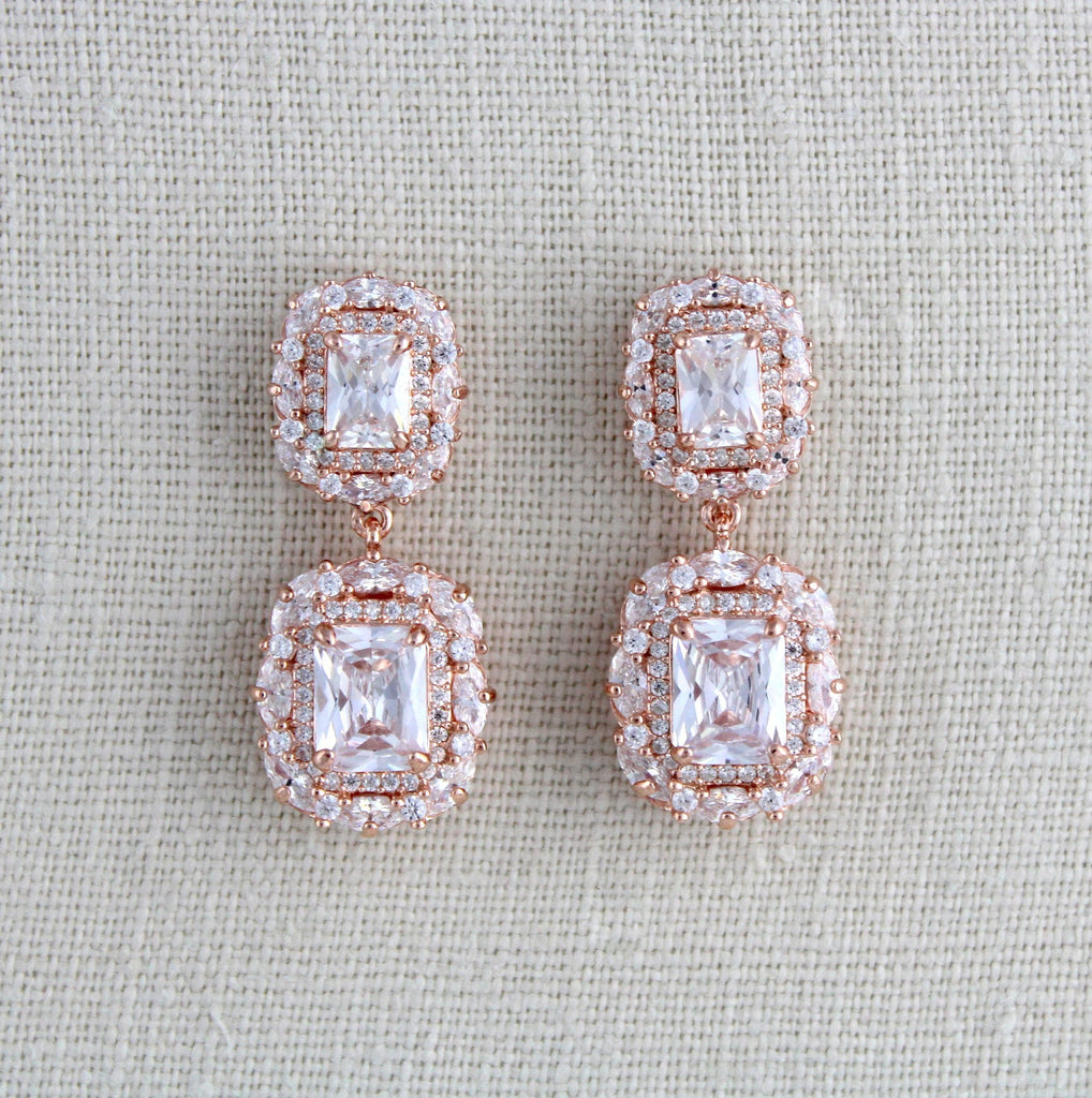 Rose gold Emerald cut Cubic Zirconia Bridal earrings - MAYA - Treasures by Agnes