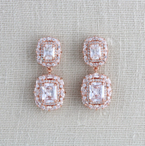 Rose gold Emerald cut Cubic Zirconia Bridal earrings - Treasures by Agnes