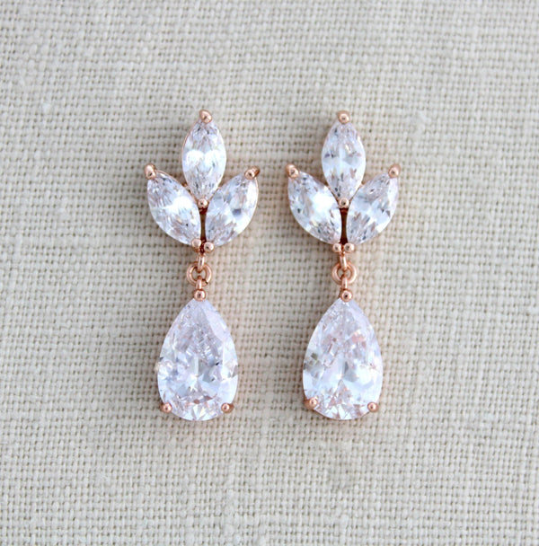 Rose gold CZ drop Bridal earrings Bridesmaid gift - Treasures by Agnes