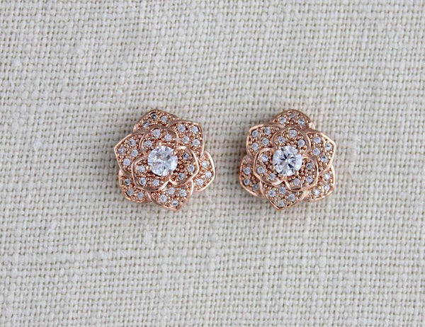 Rose gold flower stud CZ Bridal earrings - Treasures by Agnes