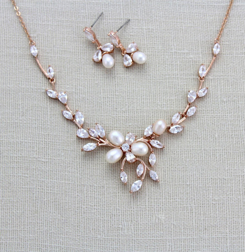 Rose gold Freshwater pearl Bridal backdrop necklace - AMARI - Treasures by Agnes
