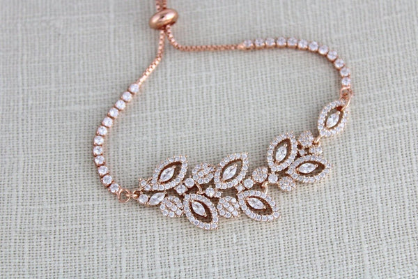 Rose gold cubic zirconia adjustable slide bracelet - Treasures by Agnes