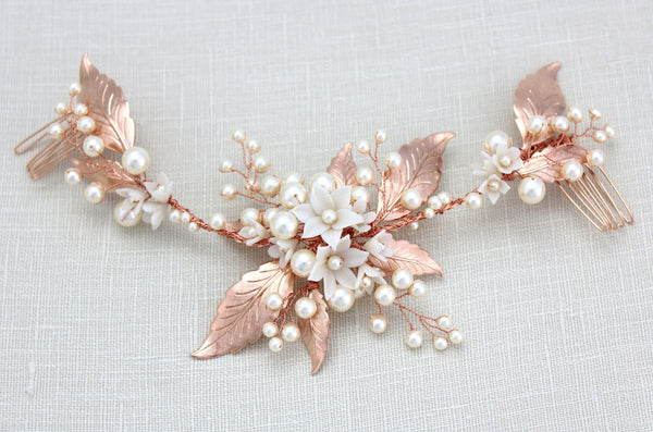 Rose gold leaf bridal hair vine headpiece with pearls - KENDRA - Treasures by Agnes