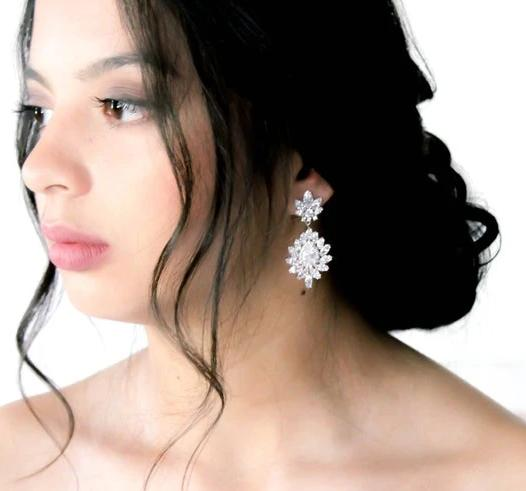 Chandelier style crystal drop CZ statement earring - DAISY - Treasures by Agnes