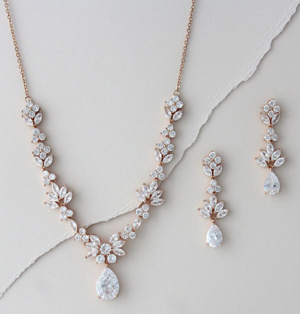 Rose gold Bridal leaf inspired necklace set - AVA - Treasures by Agnes