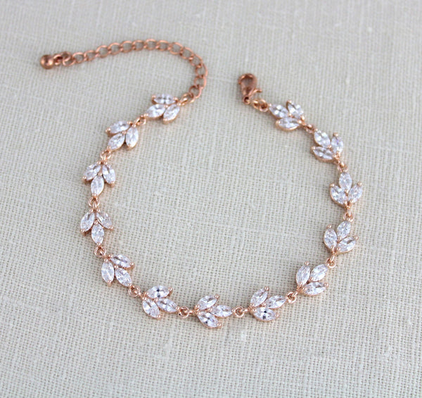 Rose gold marquise cubic zirconia Bridal bracelet - Treasures by Agnes