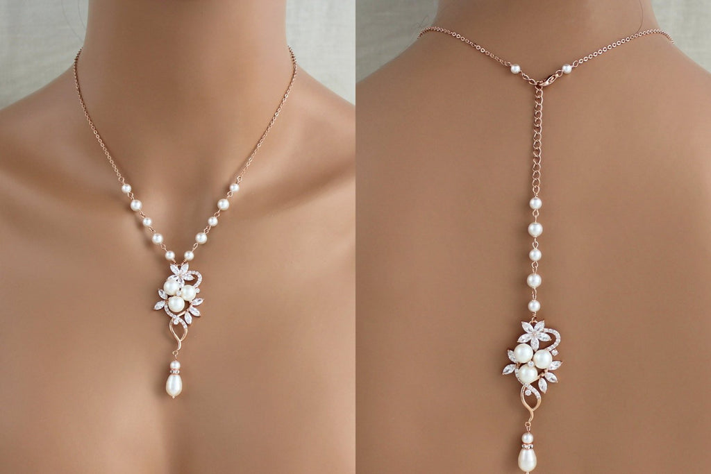 Rose gold pearl and crystal Bridal backdrop necklace MIA - Treasures by Agnes