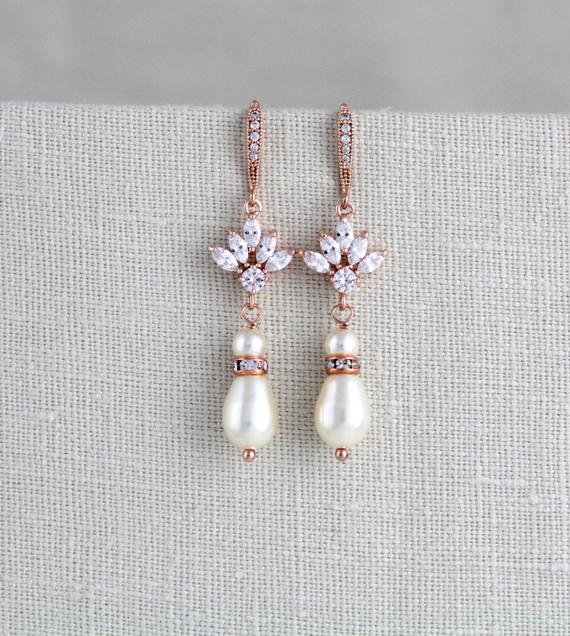 Pearl drop crystal bridal or bridesmaids earrings - EMMA - Treasures by Agnes