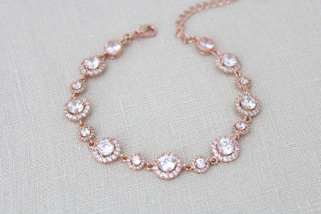 Rose gold Round halo CZ Bridal tennis bracelet - Treasures by Agnes