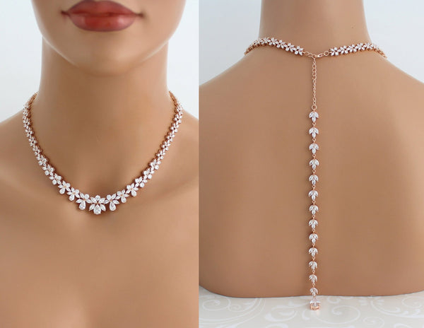 Rose gold statement backdrop necklace for bride - Treasures by Agnes