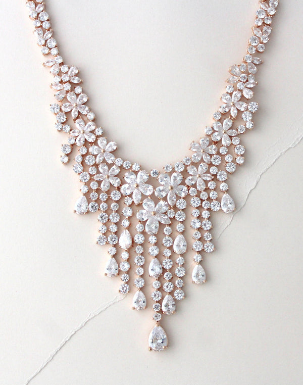 Rose gold crystal drop statement bridal necklace in floral design - ASTRID - Treasures by Agnes