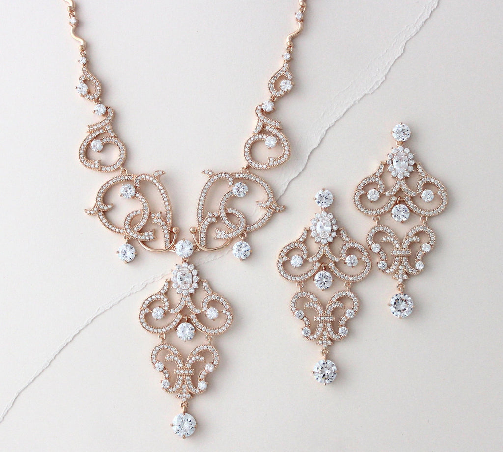 Rose gold cubic zirconia statement necklace and earring set - OLIVIA