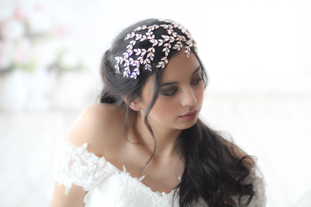 Large Rose gold Swarovski crystal Wedding headpiece - LOLA - Treasures by Agnes