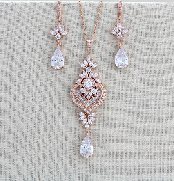 Rose gold Wedding necklace and earring set - EMMA - Treasures by Agnes