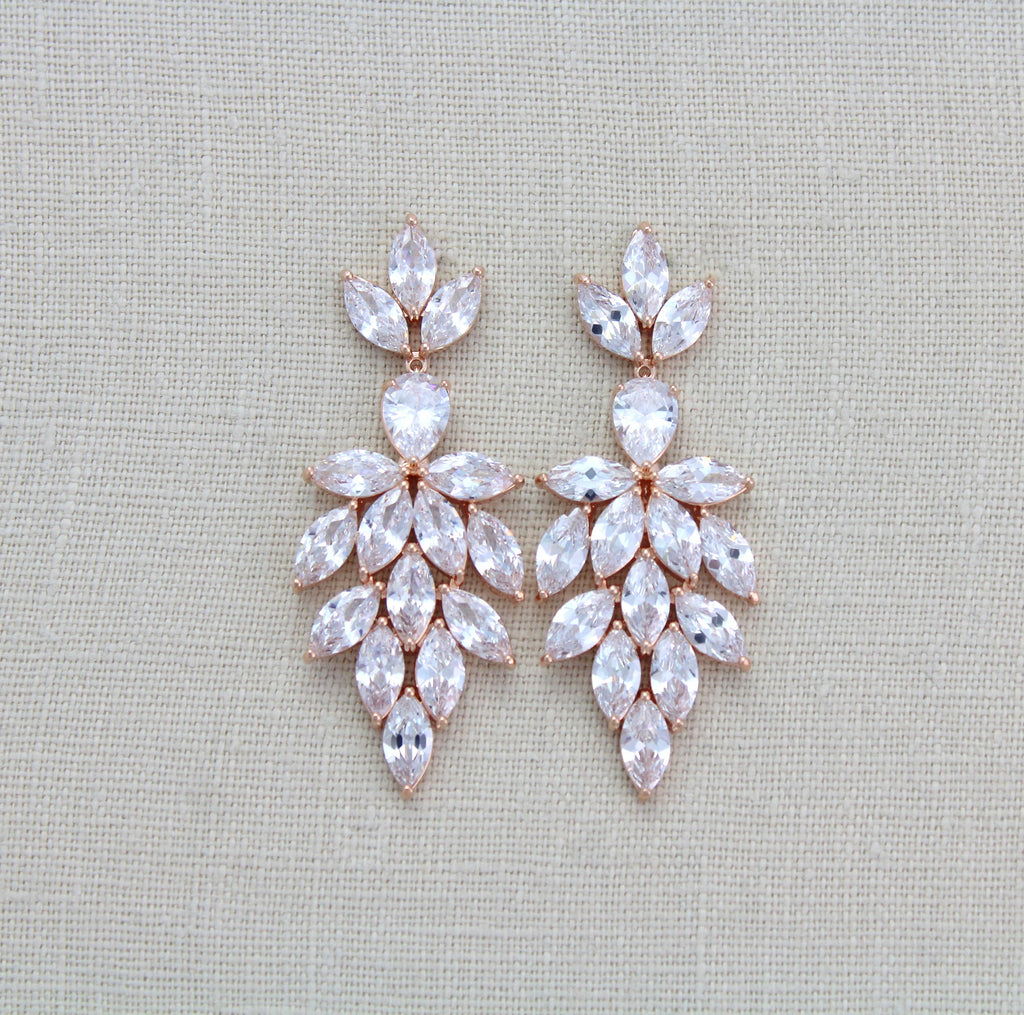 Rose gold wedding statement earrings for bride - Treasures by Agnes