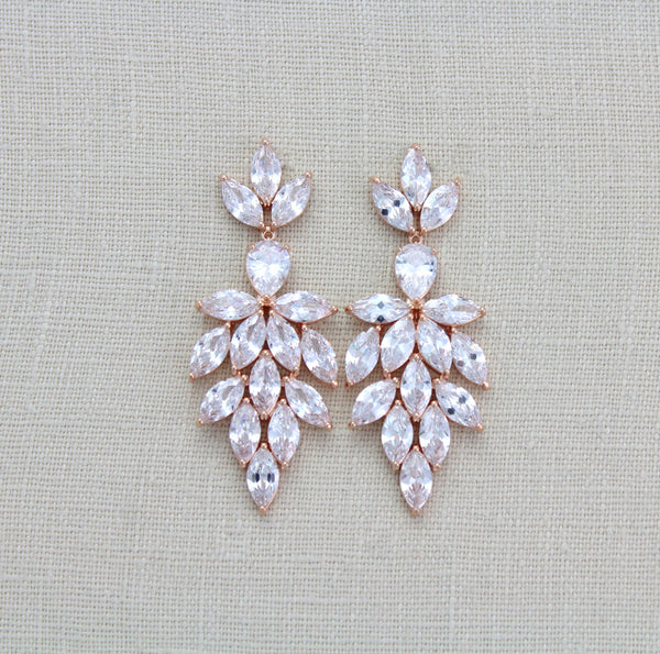 Rose gold wedding statement earrings for bride - ALICIA - Treasures by Agnes