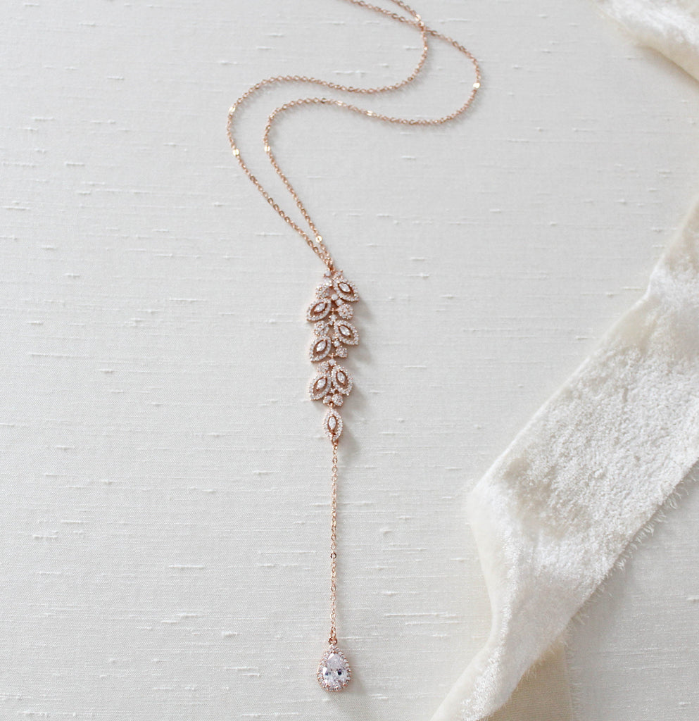 Delicate rose gold Bridal backdrop necklace - MICHELLE - Treasures by Agnes